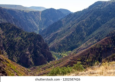The Gunnison River flows through the steep Black Canyon of the Gunnison National Park in Colorado