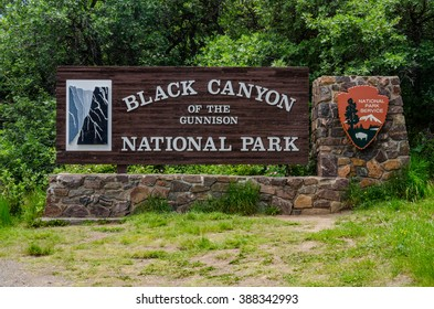 Gunnison, United States:June 28, 2015. The welcome sign to Black Canyon of the Gunnison National Park
