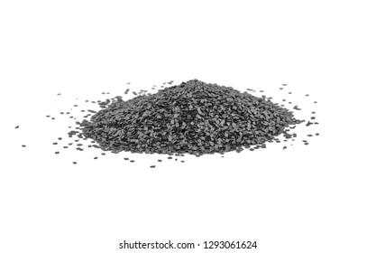 Gunpowder for a military or hunting rifle. Pile gunpowder, black powder isolated on white background.