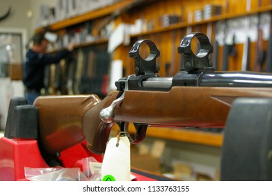 Guns, Firearms and hunting Rifles on display to be sold at a gun shop in a rural farming community in New South Wales, Australia