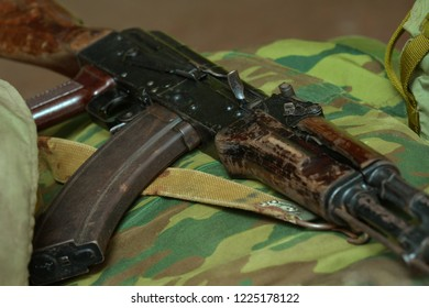 Сlose-up of guns and grips. firearms, AK-47, Russian Kalashnikov