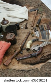 Guns, knives & camp equipment,	early 19th century Fur Trader re-enactment,	High Desert Museum,	Central Oregon