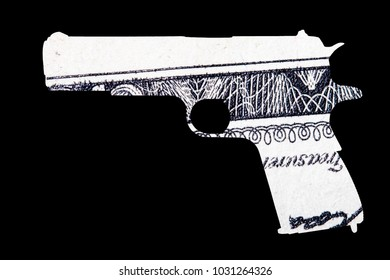 Guns and Money. Representing Shootings in America. Shape of Gun over detail of United States of America Dollar Bill