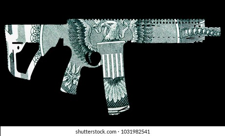 Guns and Money. Representing Shootings in America. Shape of Automatic Gun over detail of United States of America Dollar Bill