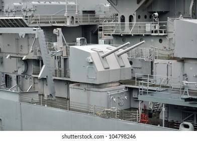 guns on side of battleship