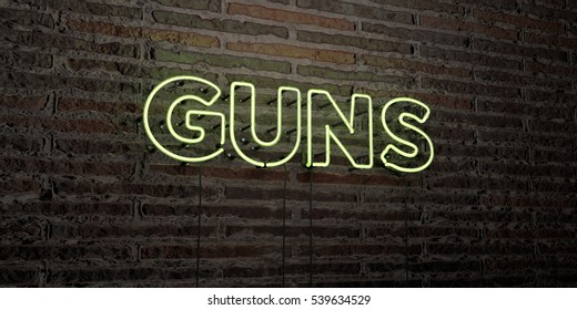 GUNS -Realistic Neon Sign on Brick Wall background - 3D rendered royalty free stock image. Can be used for online banner ads and direct mailers.