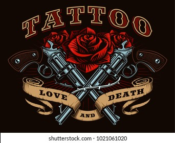 Guns and roses tattoo design. Tattoo art with revolvers, roses and vintage ribbon, shirt graphic. (RASTER VERSION)