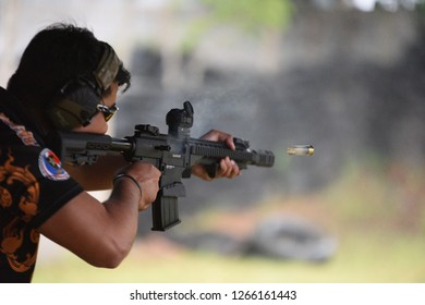 Guns used in shooting sports and race trips Amateur gunner and Thai national gunners are practicing and shooting test To compete in the trophy at Prachuap Khiri Khan, Thailand on 25 August 2018