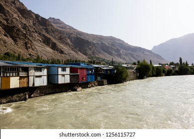 Gunt River with houses in Khorog in the Wakhan valley in Tajikistan