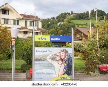 GUNTEN, SWITZERLAND - 12 September 2017: Gunten BLS Boat station is located in front of deck at Gunten.. BLS Boat service offers traveling in Lake Thun, Switzerland.