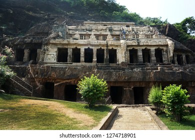 GUNTUR, ANDHRA PRADESH, INDIA, OCTOBER 21, 2018: The Undavalli Caves, 6 kms from Vijayawada, are carved out of solid sandstone on a hillside. Monolithic rock-cut architecture.