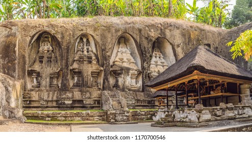 Gunung Kawi. Ancient carved in the stone temple with royal tombs. Bali, Indonesia. PANORAMA, long format