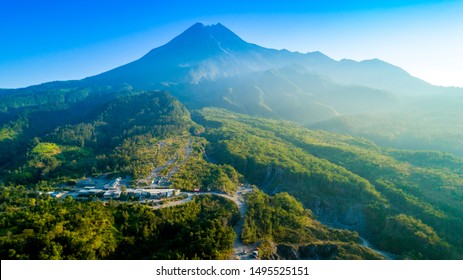 Gunung Merapi (Mount Merapi) Aerial View, An Active Volcano in Java, Indonesia, View from Bunker Kaliadem (Kaliadem Bunker)