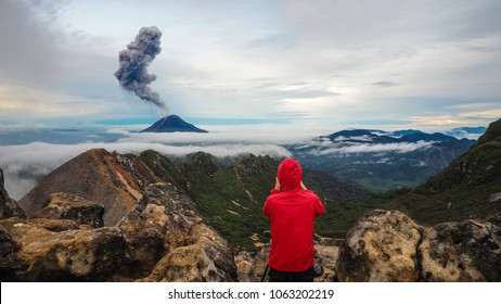 The Gunung Sinabung Volcano eruptions, View from Mount Sibayak, Medan, Indonesia