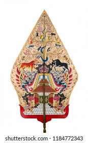 Gunungan Wayang Kulit or Tree of life puppet from Java Indonesia made from Leather