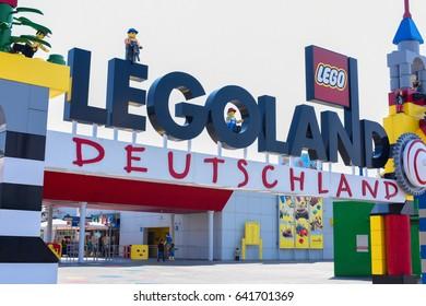 GUNZBURG, GERMANY - MAY 2016: Legoland entrance. Legoland is located in Bavaria, South Germany, between Munich and Stuttgart. , Gunzburg, Germany