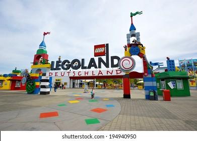GUNZBURG, GERMANY - MAY 6: Legoland entrance. Legoland is located in Bavaria, South Germany, between Munich and Stuttgart. May 6, 2014, Gunzburg, Germany