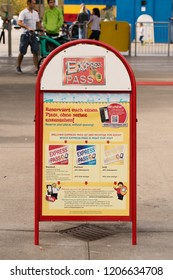 GUNZBURG, GERMANY - October 06, 2018:  Advertising Street Sandwich Stand with Info about EXPRESS PASS, Legoland  for reserve  spot in the waiting line, without queuing