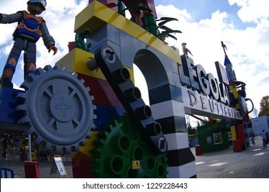 GUNZBURG, GERMANY - OCTOBER 2013 - Legoland entrance. Legoland is located in Bavaria