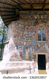 Gura Humorului/Romania - July 26th, 2013: Exterior fresco at Voronet Monastery. The monastery was built in 1488 by Stephen The Great. The exterior paintings were added in 1547. It's a UNESCO heritage.