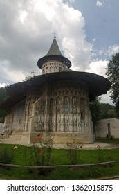 Gura Humorului/Romania - July 26th, 2013: Voronet Monastery. This is a monastery built in 1488 by Stephen The Great. The exterior paintings were added in 1547. It's a UNESCO heritage.