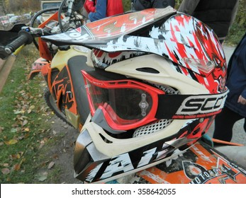 GURA RAULUI, ROMANIA -  biker helmet and enduro motorcycles KTM in Gura Raului, Sibiu during the Romanian championship on 14 November 2015 in Gura Raului, Romania.