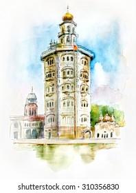 Gurdwara Baba Atal. Watercolor sketch of Gurdwara Baba Atal in Punjab India.
