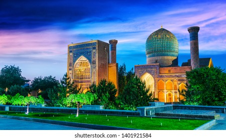 Gur-e-Amir or Guri Amir (Tomb of the King), a mausoleum of the Asian conqueror Timur in Samarkand, Uzbekistan.
