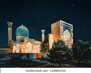 Gur-Emir mausoleum at night with Stars, Samarkand, Uzbekistan