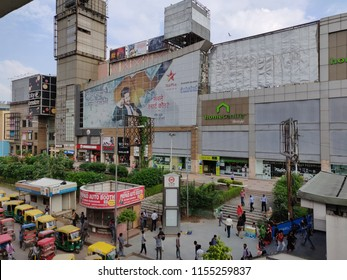 Gurgaon, Haryana/India- August 8, 2018:The exteriors of DT City Center Mall where the poster in Hindi is about a game show called 'How Smart are You'