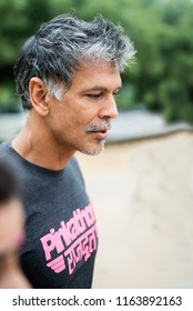 Gurgaon, India -- August 25, 2018: Supermodel and actor Milind Soman promoting the female marathon runners on Pinkathon.