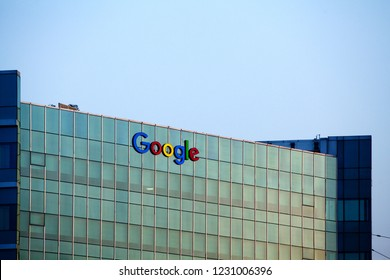 Gurgaon, India - May 02, 2016: top of the office building of google India with brand name on the facade
