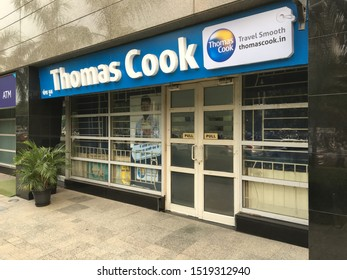 Gurgaon / India - October 1 2019: A view of a Thomas Cook office in downtown Gurgaon on a late afternoon.