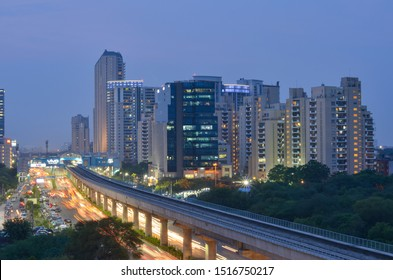 Gurgaon, India,2020. Aerial shot of Rapid metro tracks in urban areas of New Delhi NCR, Gurugram, Noida. A  useful addition to existing DMRC rail network. DMRC is closing metro service due to covid-19