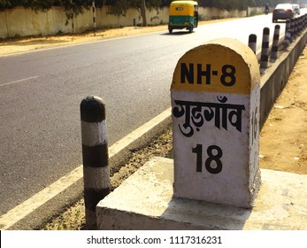 Gurgaon Milestone on road