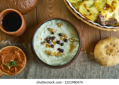 Guriev porridge Guriev kasha - ,dessert dish prepared from semolina and milk with the addition of nuts,  Russian 19th century classic cuisine , assorted  dishes, Top view.