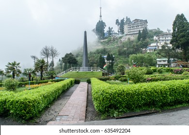 Gurkha's War Memorial at Batasia Loop Eco Garden on a foggy cloudy day in Darjeeling, West Bengal, India, Asia. May 01,2017.
