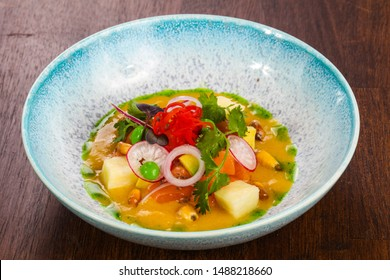 Gurman Soup with salmon and vegetables served cilantro - Shutterstock ID 1488218660