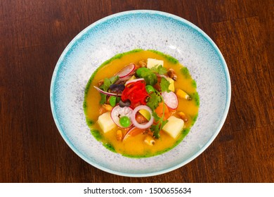 Gurman Soup with salmon and vegetables served cilantro - Shutterstock ID 1500655634