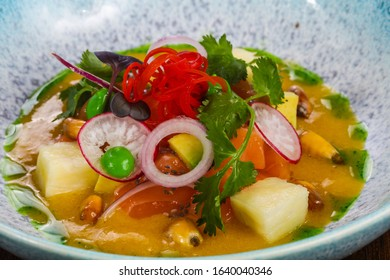 Gurman Soup with salmon and vegetables served cilantro - Shutterstock ID 1640040346