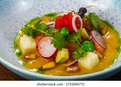 Gurman Soup with salmon and vegetables served cilantro - Shutterstock ID 1755004772
