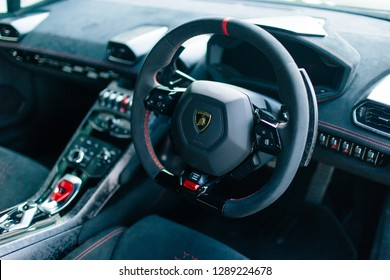 Gurney Drive, Penang - December 23, 2018 : Internal dashboard of the steering wheel of a Lamborghini Huracan Performante Coupe LP640 at Gurney Hotel