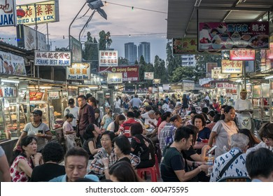 GURNEY DRIVE, PENANG, MALAYSIA - March 2017, Gurney Drive Hawker Centre, Street food, Gurney Drive is a popular seafront promenade within George Town, Penang, Malaysia.