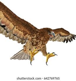 Gurney Eagle on white. 3D illustration