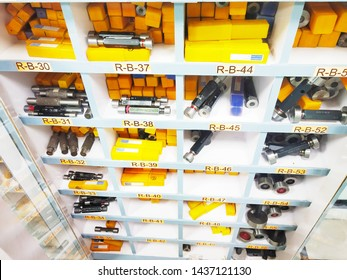 Gurugram, Haryana, India - Jan 13, 2019: Different types and sizes of plug gauges in rack of standard room. Industrial used plain plug gauges . A plug gauge( go & no go) refers to an inspection tool