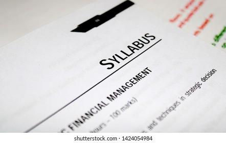 Gurugram, Haryana, India - May 21, 2019: Syllabus printed in book with large letters