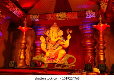 Guruji Talim Ganapati idol with its ride Mushak or mouse during Ganapati festival