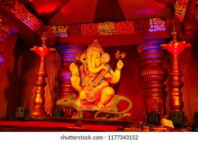 Guruji Talim Ganapati idol with its ride Mushak or mouse during Ganapati festival, Pune