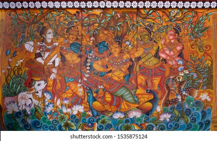 Guruvayoor-Kerala/India-11-09-2019-Traditional mural paintings were painted on the Guruvayoor Temple outer walls for the tourist to see and learn our unique style of art.