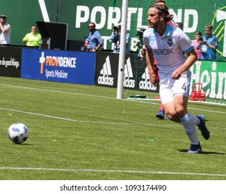 Gustav Svensson midfielder for the Seattle Sounders at Providence Park in Portland Oregon USA May 13th,2018.